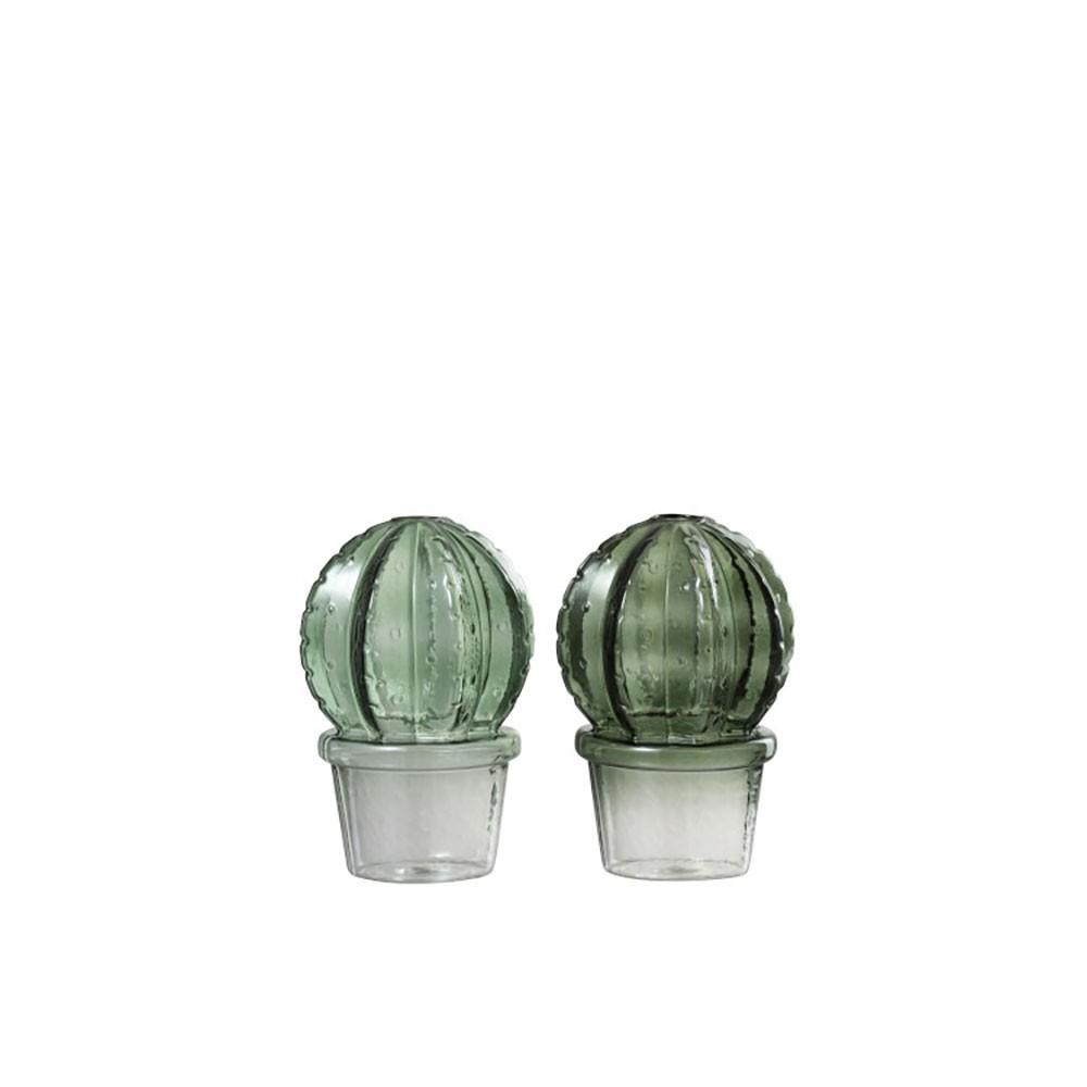 Vase Cactus + Pot Boule Verre Mix Vert (Assortiment de 2)