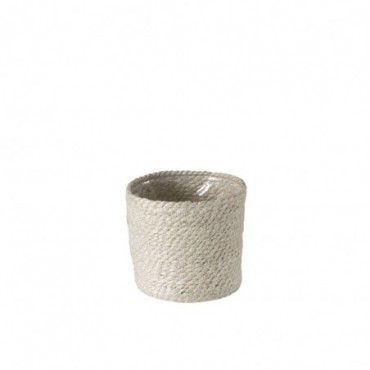 Cachepot Cylindrique Jute Blanc Medium