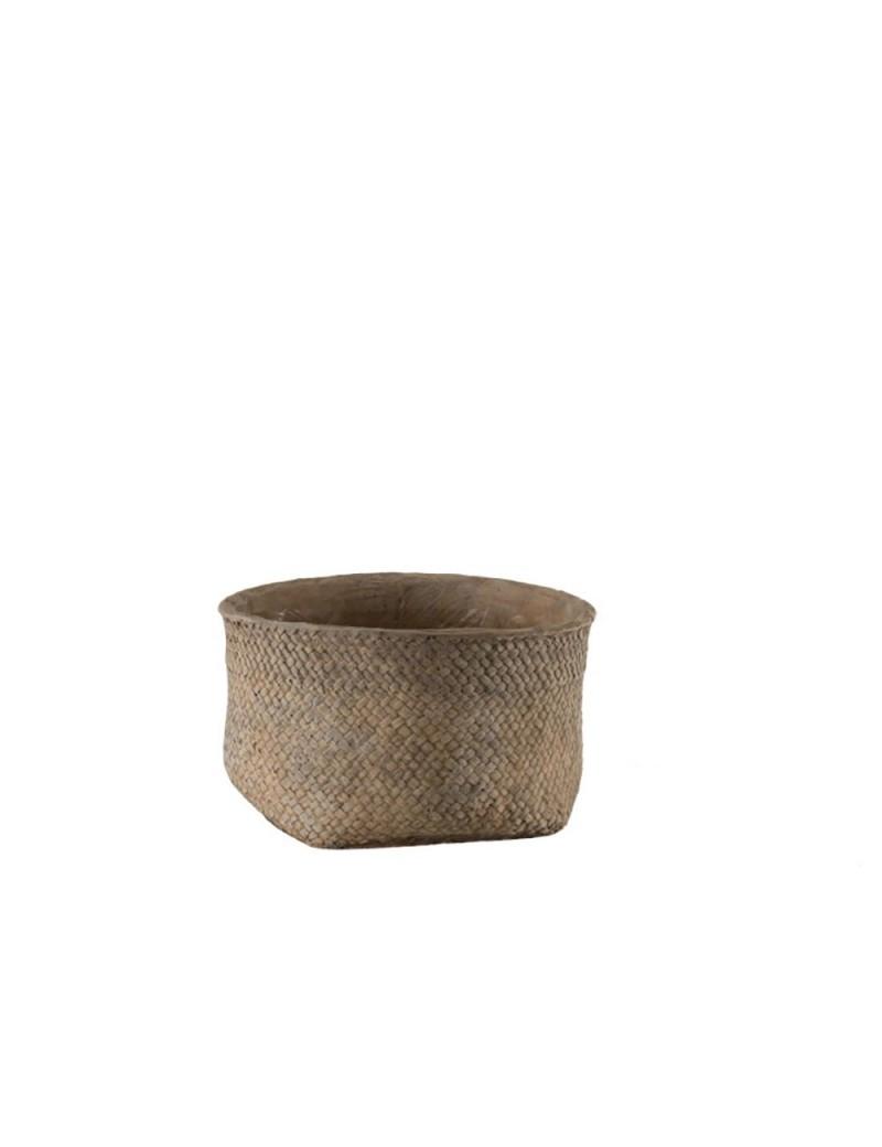Cachepot Bord Ciment Marron Small