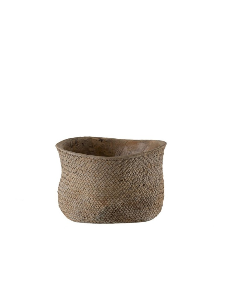 Cachepot Bord Ciment Marron Large