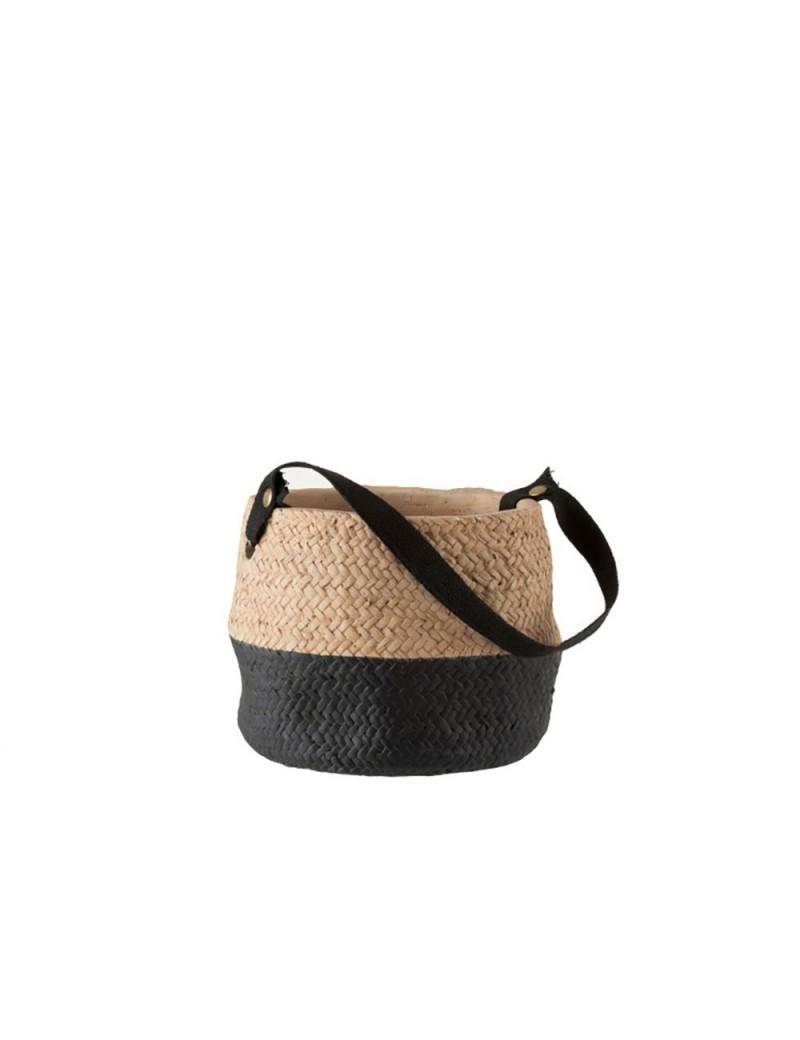 Cachepot Anse Ciment Naturel/Noir Small