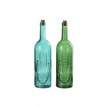 Bouteille Cactus Decoratif Verre/Bouchon Vert/Bleu