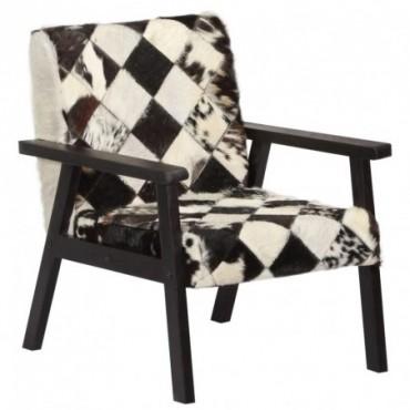 Fauteuil Noir et blanc en cuir véritable 61x70x74cm