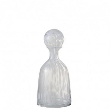 Bouteille + Bouchon Pois Decoratif Bas Verre Transparent/Blanc Small