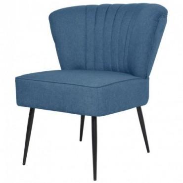 Chaise de salon pieds compas Bleu