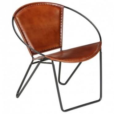 Chaise relax en cuir véritable Marron 69x69x69cm