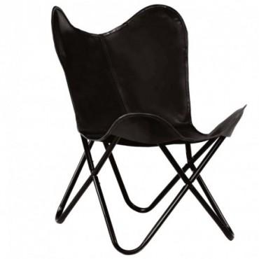 Chaise forme de papillon en cuir véritable Noir Taille d'enfants