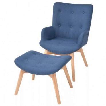 Fauteuil scandinave avec repose-pied en tissu Bleu