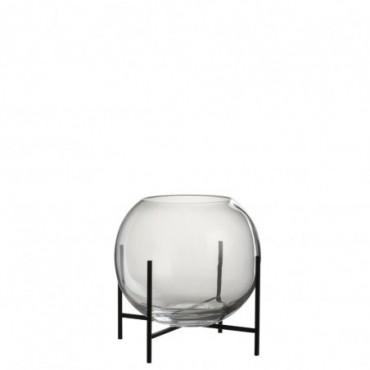 Vase Boule + Pied Verre/Metal Transparent/Noir