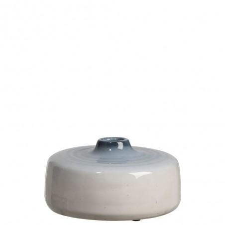 Vase Bas Ceramique Bleu/Blanc