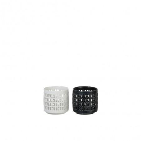 Bougeoir Porcelaine Blanc/Vert Fonce Small (Assortiment de 2)
