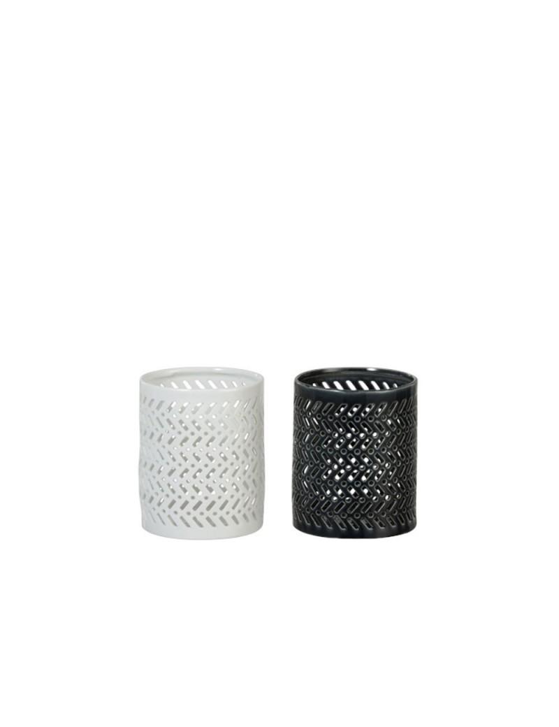 Bougeoir Porcelaine Blanc/Vert Fonce Large (Assortiment de 2)