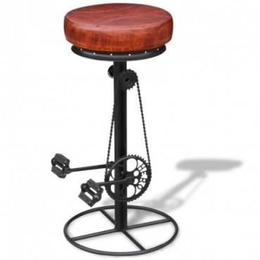 Tabouret de bar avec pédales de vélo en cuir véritable Marron et noir