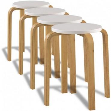 Tabourets empilables x4 Blanc en bois courbé