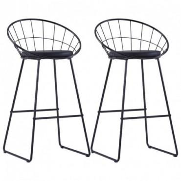 Chaises de bar design avec sièges en similicuir x2 Noir en acier