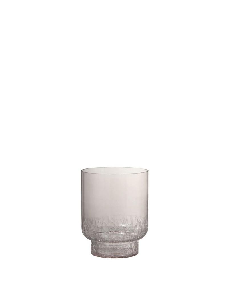 Vase + Pied Rond Craquele Fond Verre Rose Small