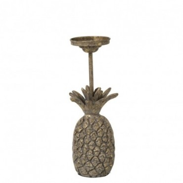 Bougeoir Ananas Metal Antique Or Large