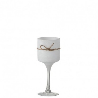 Bougeoir + Pied Rond Verre/Corde Blanc Small
