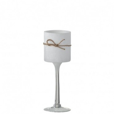 Bougeoir + Pied Rond Verre/Corde Blanc Medium