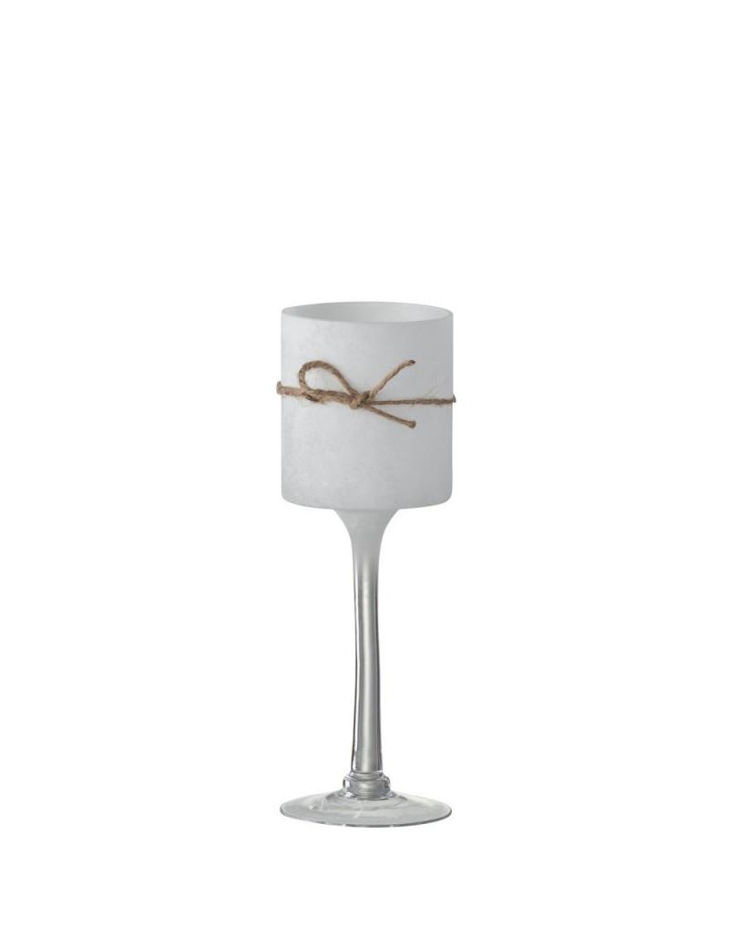 Bougeoir + Pied Rond Verre/Corde Blanc Medium