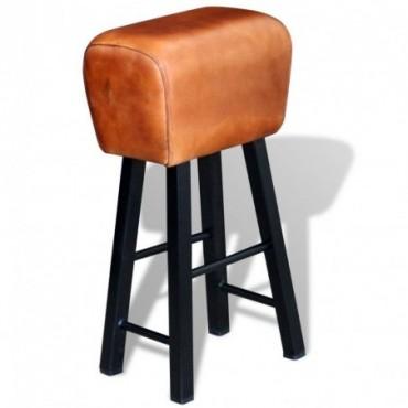 Tabouret de bar cheval d'arçon en cuir véritable marron