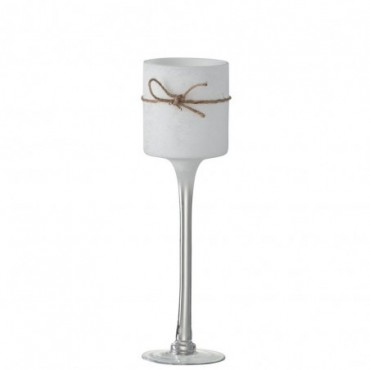 Bougeoir + Pied Rond Verre/Corde Blanc Large
