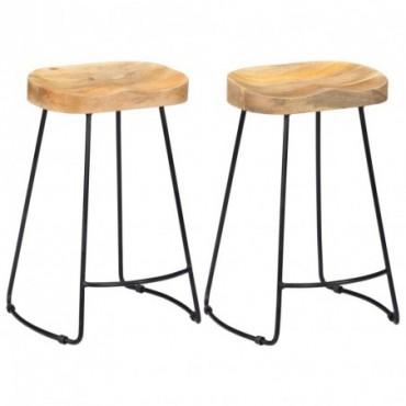 Tabourets de bar Gavin x2 en bois de manguier massif clair 45x40x62cm