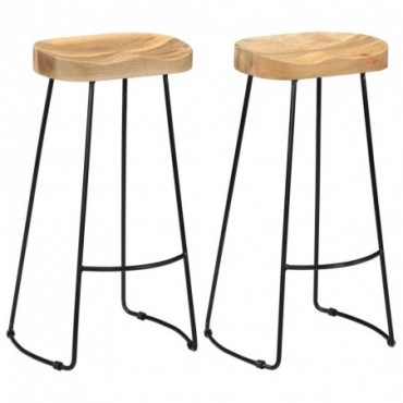 Tabourets de bar Gavin x2 en bois de manguier massif clair 45x40x78cm