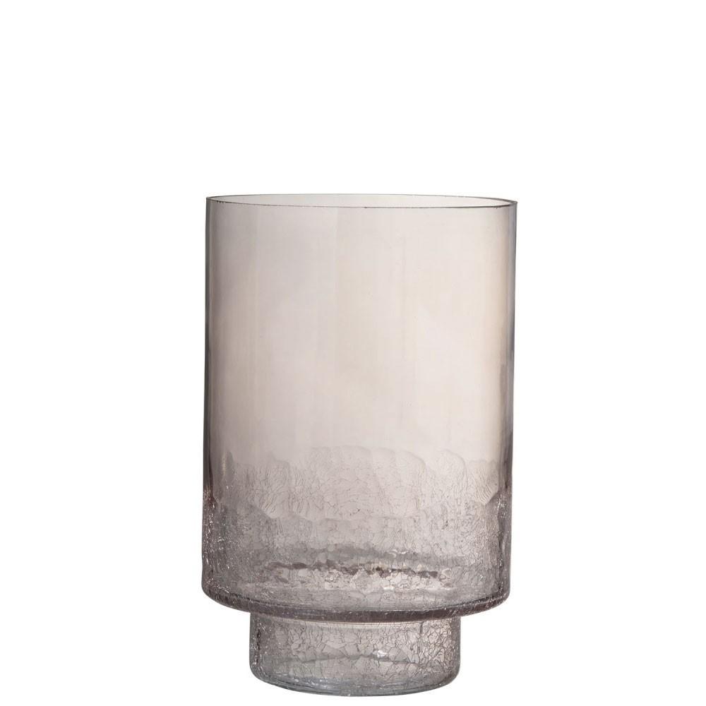 Vase + Pied Rond Craquele Fond Verre Rose Large