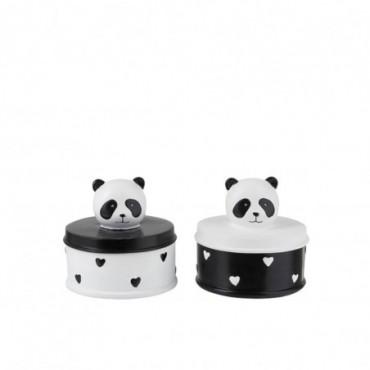 Boite Panda Resine Noir/Blanc (Assortiment de 2)