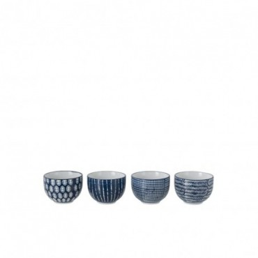 Boite De 4 Bol Imprimes Porcelaine Bleu/Blanc S