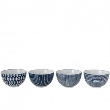 Boite De 4 Bol Imprimes Porcelaine Bleu/Blanc Large
