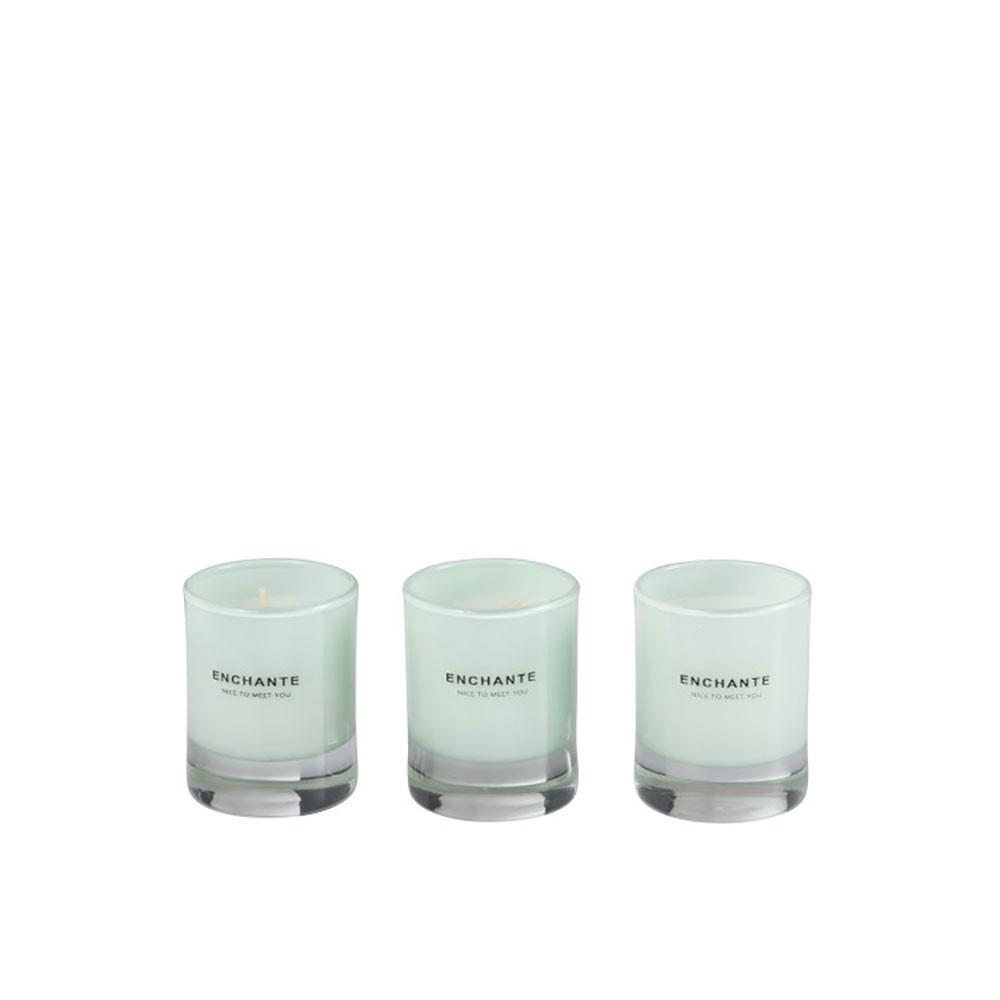Boite De 3 Bougies Parfumees Enchante Verre Menthe-10 Heures