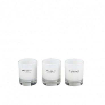 Boite De 3 Bougies Parfumees Enchante Verre Blanc-10 Heures