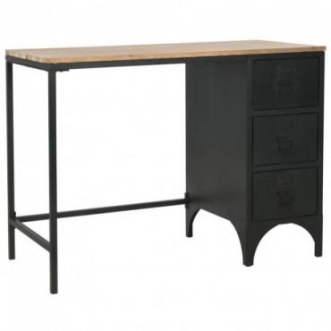 Bureau à piédestal unique en bois de sapin et en acier 100x50x76cm
