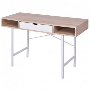 Bureau scandinave avec 1 tiroir Chêne et blanc