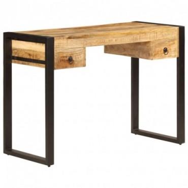 Bureau avec 2 tiroirs en bois de manguier 110x50x77cm