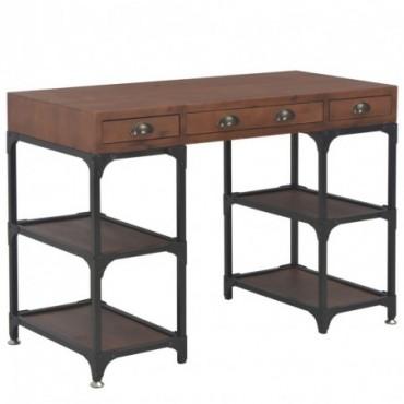 Bureau avec 3 tiroirs en bois de sapin massif 110x50x78cm