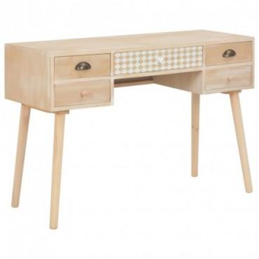 Bureau scandinave avec 5 tiroirs en bois de pin 114x40x75,5cm