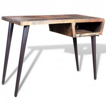 Bureau avec pieds compas en fer en bois de récupération