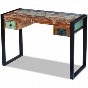 Bureau en bois de récupération massif Dimensions : 110x50x77cm (LxlxH)