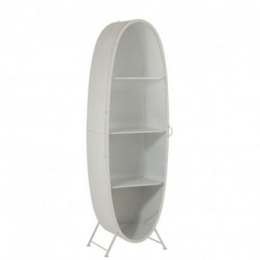 Armoire Ovale Metal/Verre Blanc