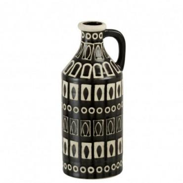 Vase + Oreille Ethnique Ceramique Marron/Beige Large