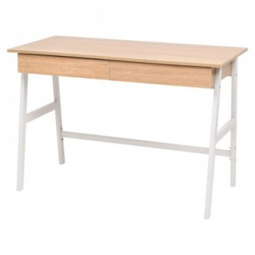 Bureau style pupitre Chêne et blanc 110x55x75cm