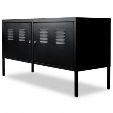Meuble TV casier industriel Noir 118x40x60cm