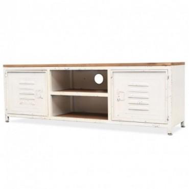 Meuble TV casier industriel Blanc 120x30x40cm