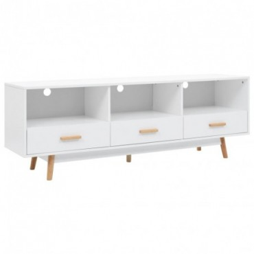 Meuble TV Blanc en bois 3 tiroirs 160x40x55cm