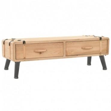 Meuble TV style malle vintage en bois de sapin massif 120x33x35cm