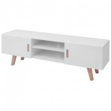 Meuble TV en bois Blanc brillant style scandinave 150x35x48,5cm