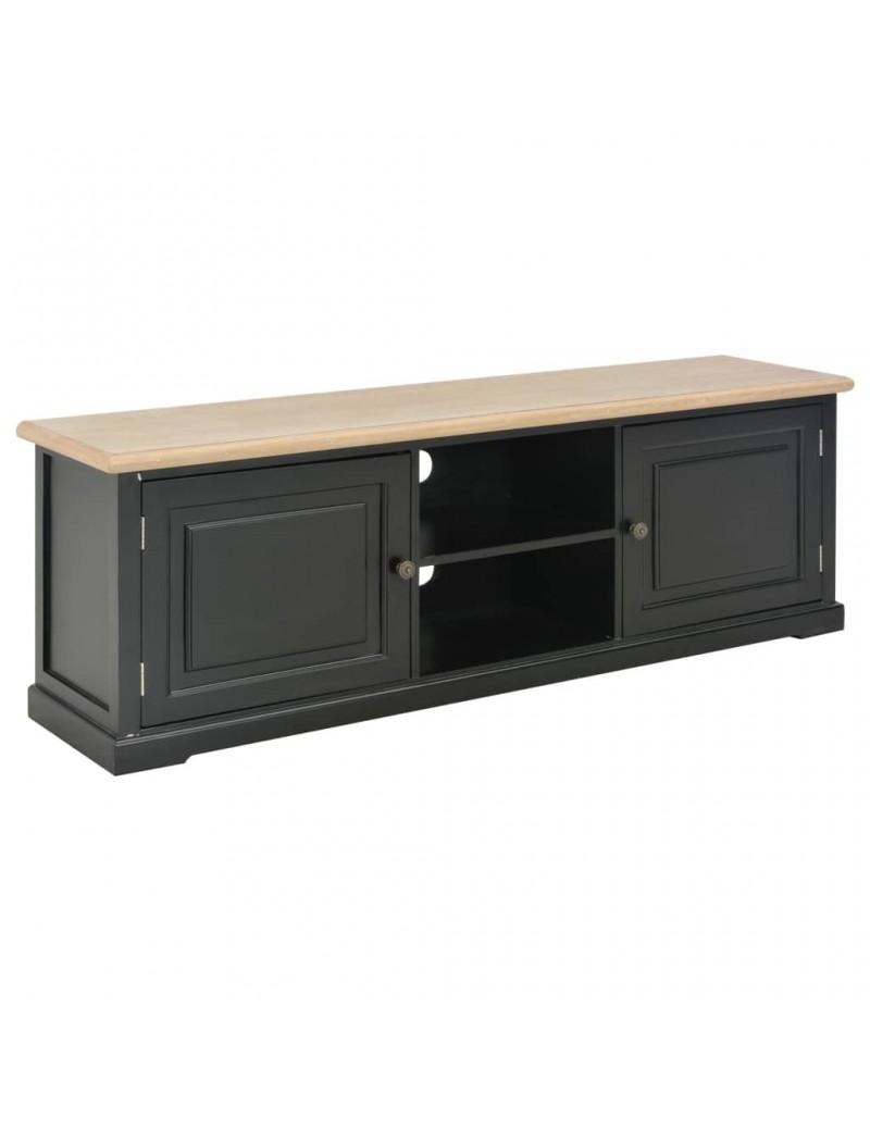 Deco Murale Au Dessus Tele meuble tv noir en bois avec dessus en bois de paulownia 120x30x40cm